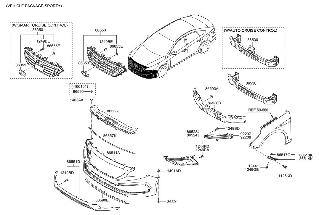 86560 C2300 Genuine Hyundai Grille Front Bumper