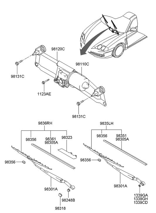 2003 hyundai tiburon windshield wiper hyundai parts deal. Black Bedroom Furniture Sets. Home Design Ideas