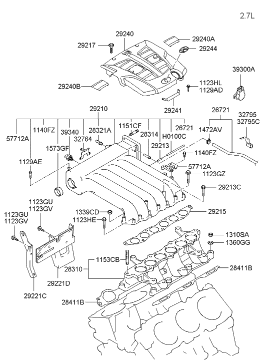 32795-3a100 - genuine hyundai clamp-accelerator cable rope clamps diagram