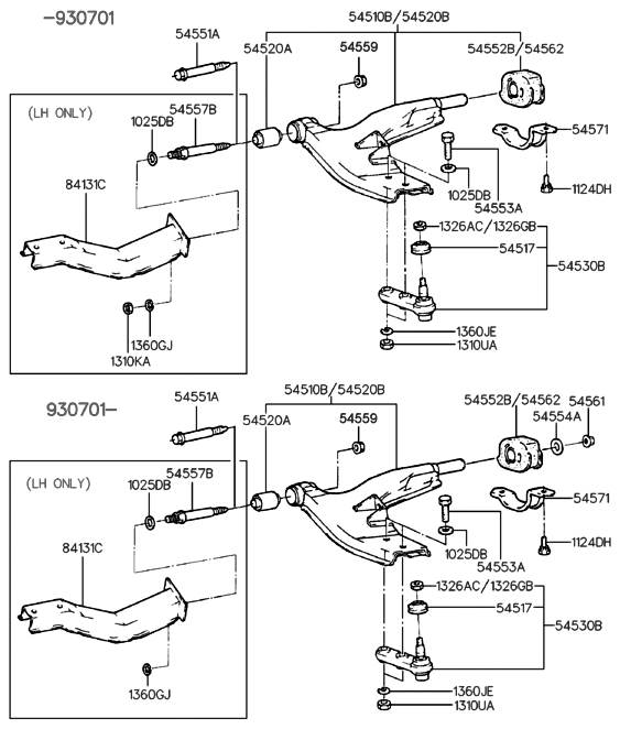 1993 Hyundai Elantra front-suspension-lower-arm
