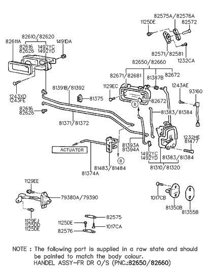81384-28000 - Genuine Hyundai ROD-FRONT DOOR LOCK RH