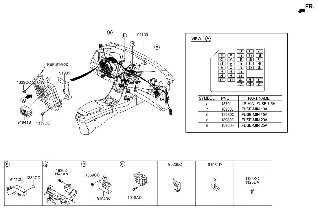 91138 3v010 genuine hyundai wiring assembly main