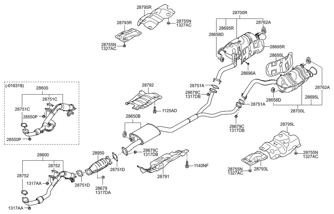 2007 Hyundai Veracruz ler & Exhaust Pipe - Hyundai Parts Deal
