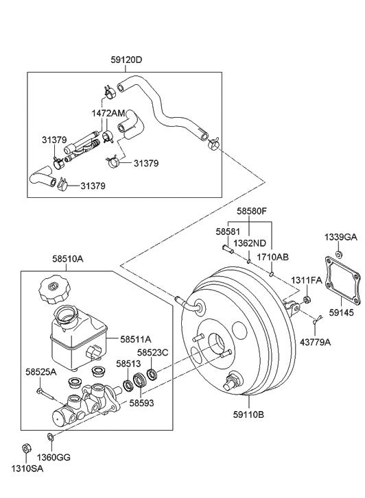 2010 hyundai veracruz brake master cylinder