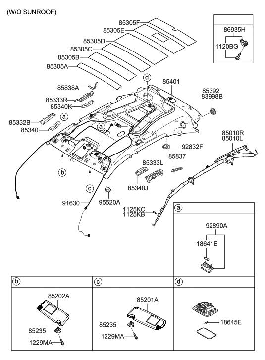 Genuine Hyundai 85401-3J060-OR Headlining Assembly