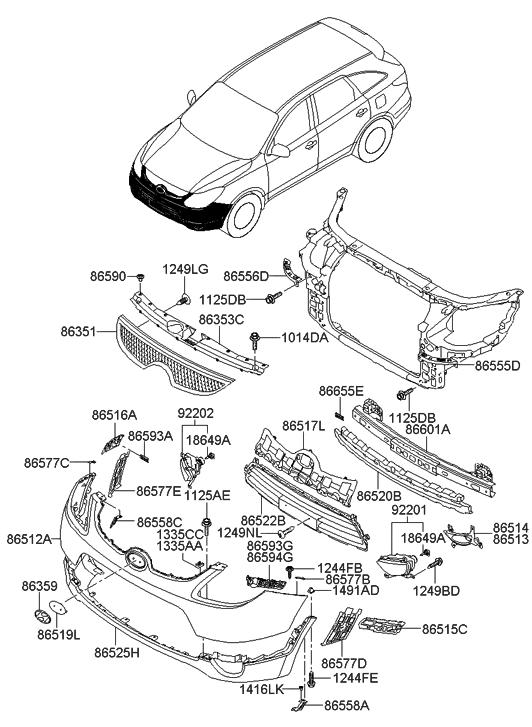 2011 Hyundai Veracruz Front Bumper