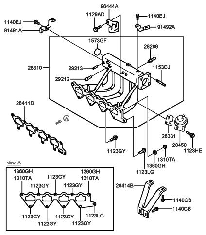 1999 hyundai sonata intake manifold (i4)