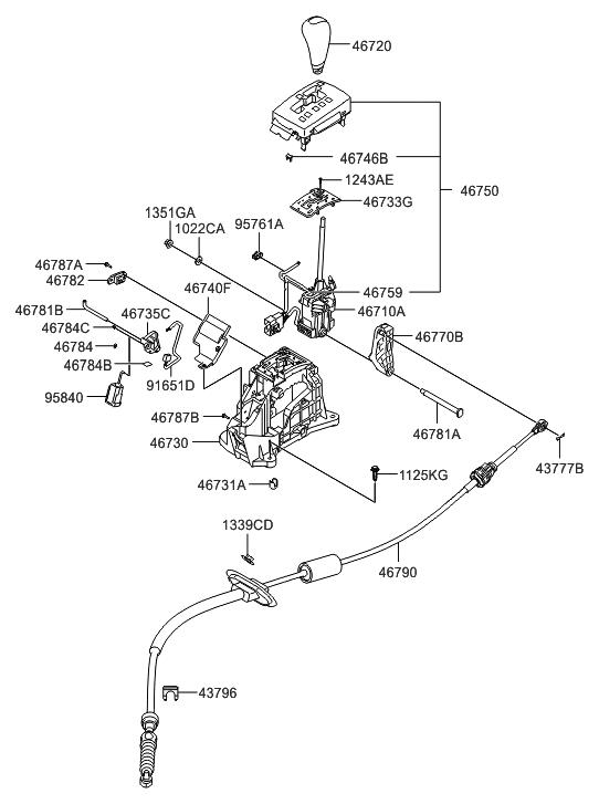 Genuine Hyundai 46720-3K000-QZ Gear Shift Lever Knob Assembly