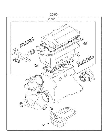 1997 hyundai tiburon engine gasket kit  beta