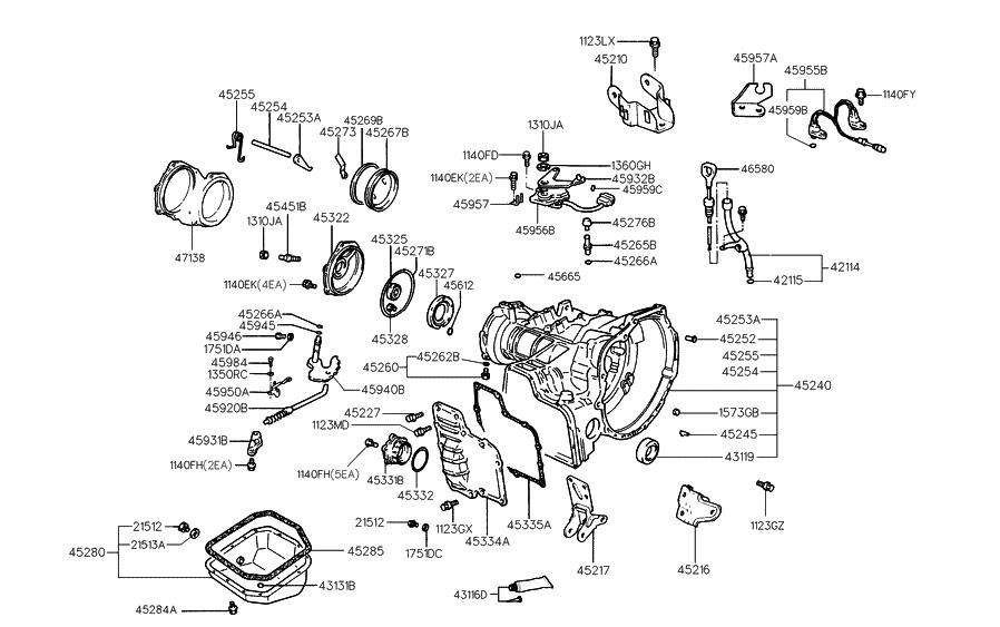 1999 hyundai tiburon auto transmission case hyundai parts deal rh hyundaipartsdeal com 2015 Tiburon 2003 Tiburon