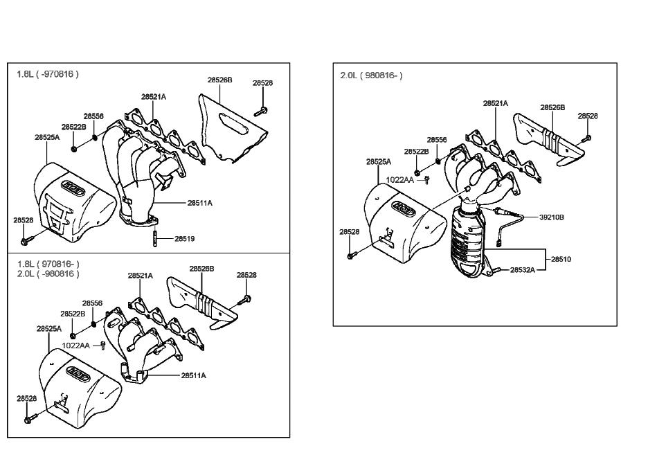 [SCHEMATICS_48EU]  1997 Hyundai Tiburon Exhaust Manifold (Beta Engine) | 1997 Hyundai Tiburon Engine Diagram |  | Hyundai Parts