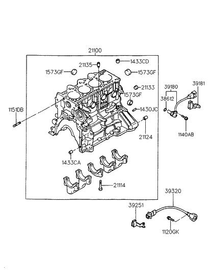 21100 23c00 genuine hyundai block assembly cylinder