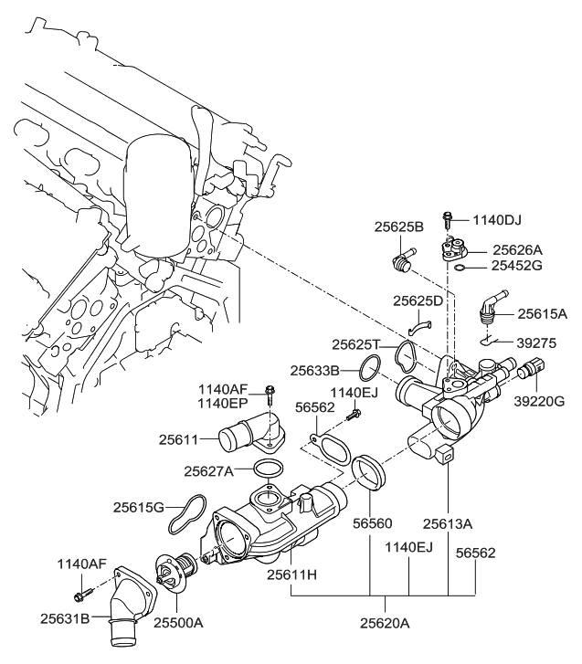 Stupendous 25621 3C200 Genuine Hyundai Housing Thermostat Wiring Cloud Hisonuggs Outletorg
