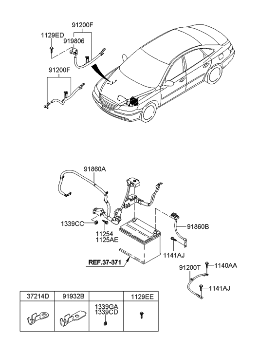 91850-3K112 - Genuine Hyundai WIRING ASSEMBLY-BATTERY (+) hyundai santa fe wiring diagrams free Hyundai Parts
