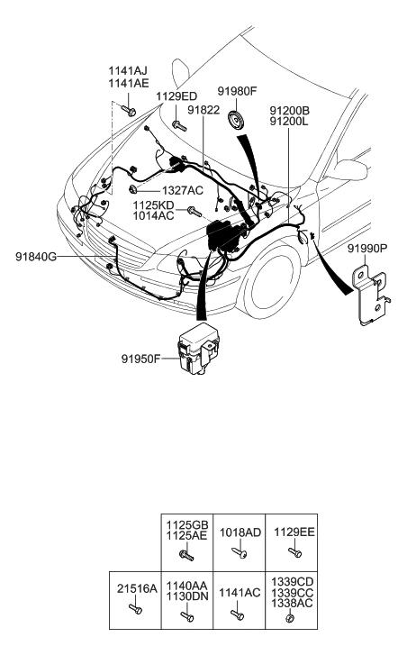 91200-3L371 - Genuine Hyundai WIRING ASSEMBLY-FRONT hyundai santa fe wiring diagrams free Hyundai Parts