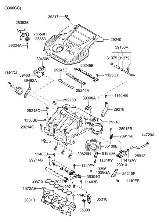 [DVZP_7254]   29240-3C270 - Genuine Hyundai COVER ASSEMBLY-ENGINE | 2008 Azera Engine Diagram |  | Genuine Hyundai Parts