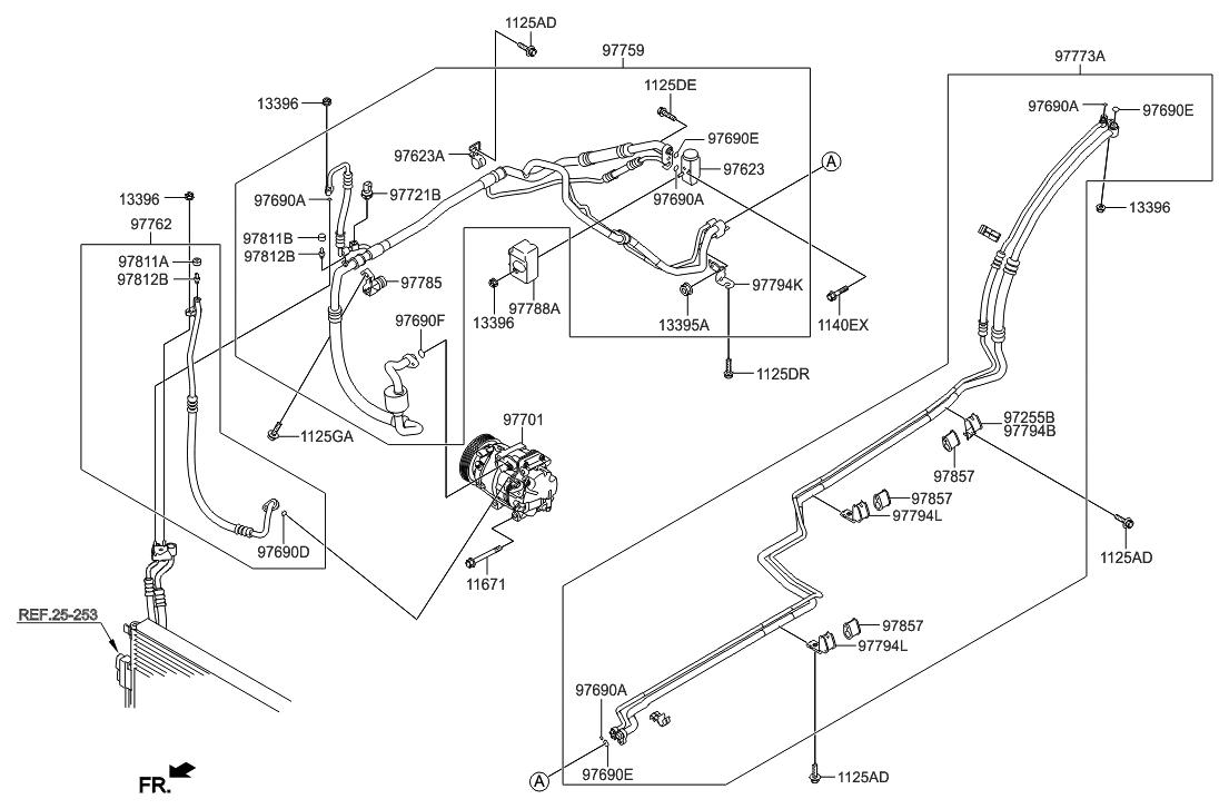 97762 2w800 Genuine Hyundai Hose Discharge 2013 Santa Fe Engine Diagram Korean Made Air Conditioning System Cooler Line