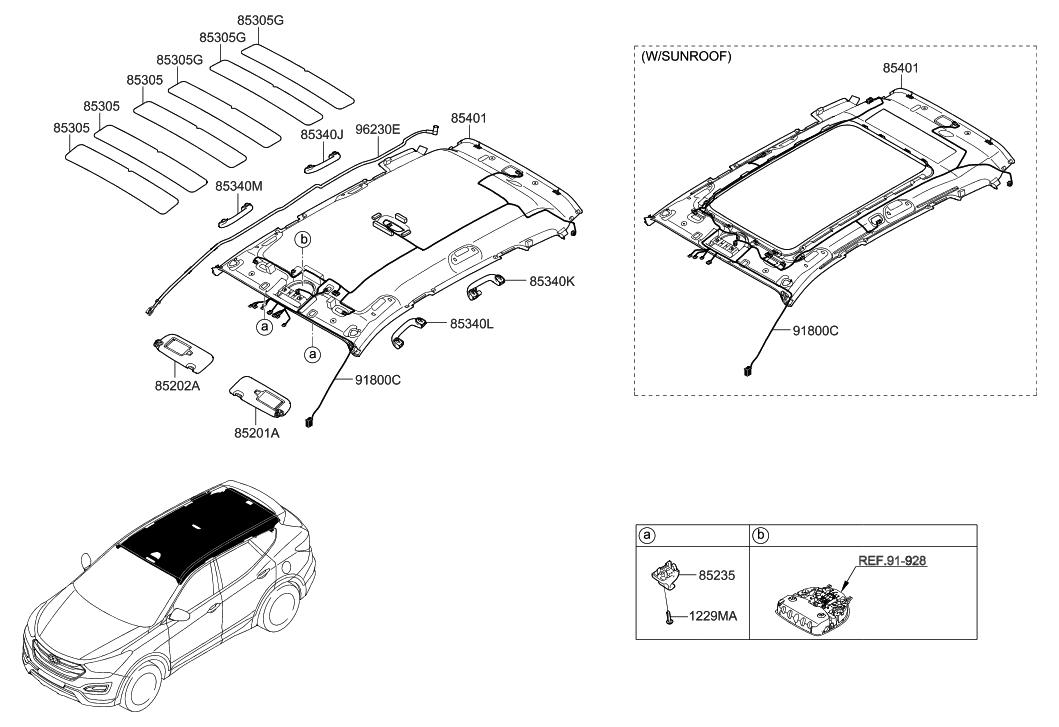 91800 B8730 Genuine Hyundai Wiring Assembly Roof Diagram Santa Fe 2016 2015 Korean Made Sunvisor Head Lining