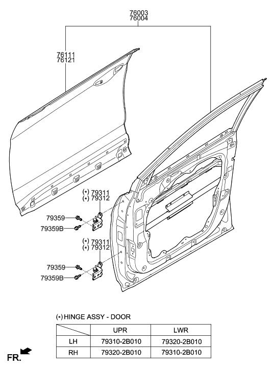 2014 Hyundai Santa Fe Korean made Front Door Panel