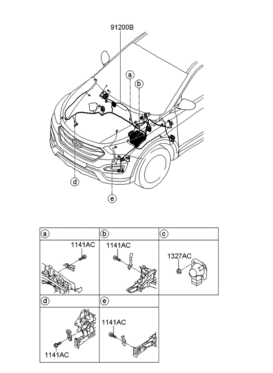 91210-B8490 - Genuine Hyundai WIRING ASSEMBLY-FRONT