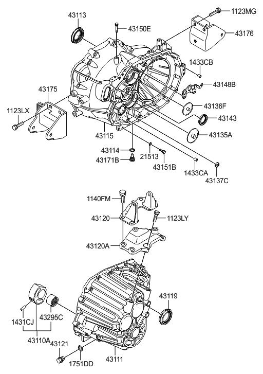 2009 Hyundai Santa Fe New Body Style Transaxle Case-Manual