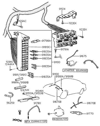 1994 Hyundai Scoupe Main Wiring Hyundai Parts Deal