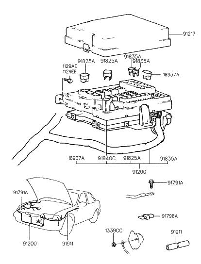 1998 hyundai sonata old body style engine wiring