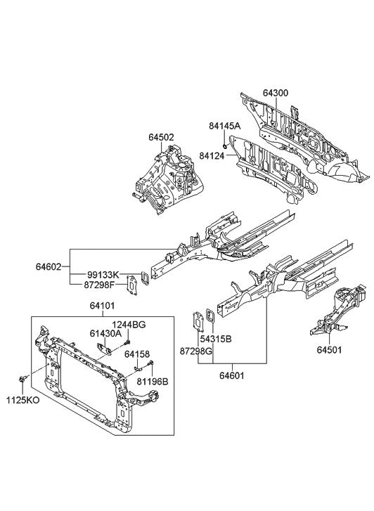 2011 Hyundai Tucson Fender Apron & Radiator Support Panel