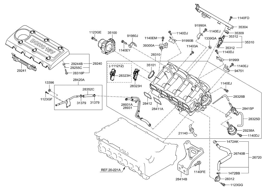 28310-2G090 - Genuine Hyundai MANIFOLD ASSEMBLY-INTAKE
