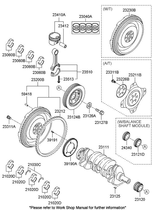 21020 2g010 Genuine Hyundai Bearing Pair Set Crank Shaft