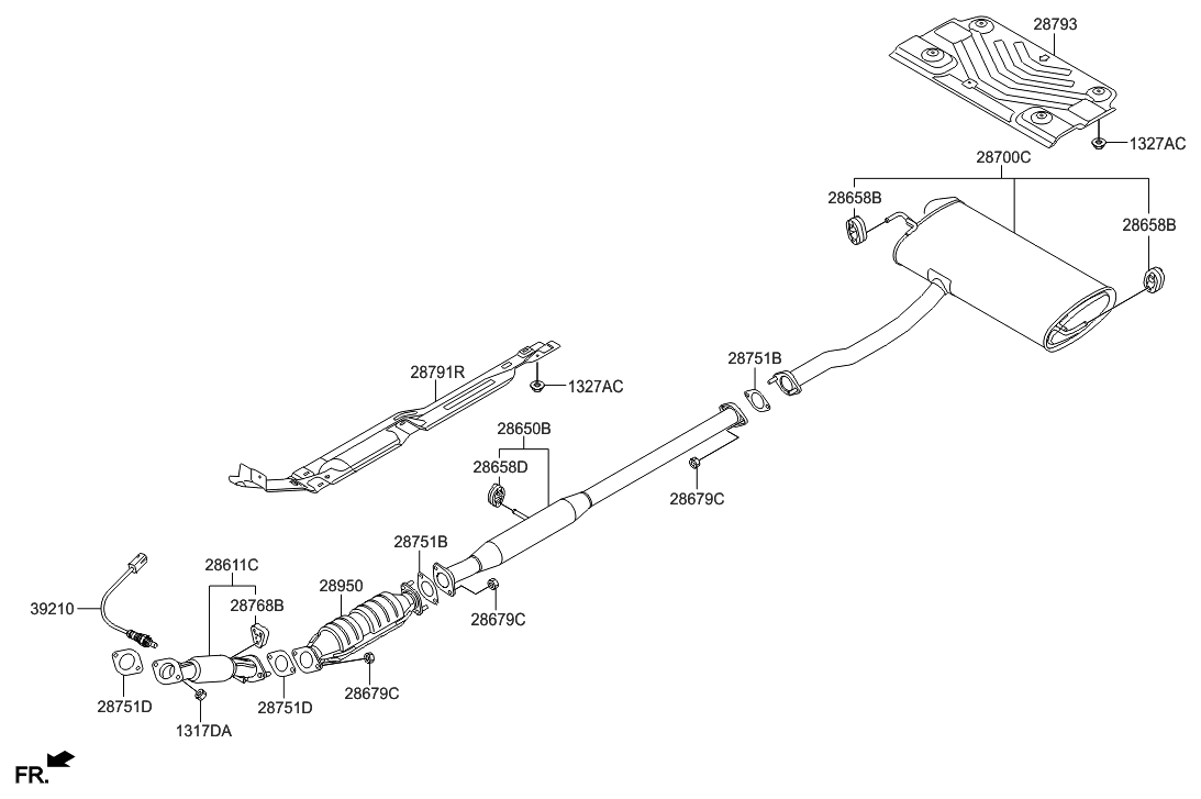 2010 hyundai tucson muffler & exhaust pipe - thumbnail 1