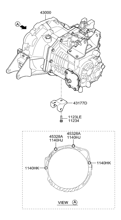 4300039AA0  Genuine Hyundai    TRANSMISSION    ASSEMBLYMANUAL