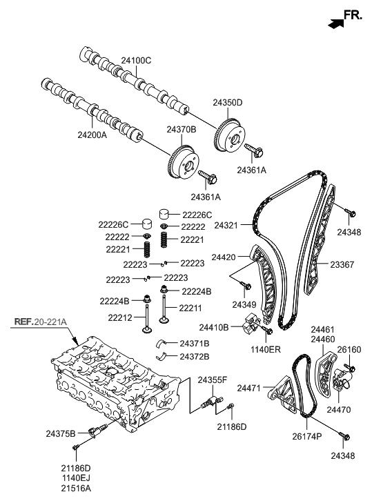 22224 25000 Genuine Hyundai Seal Valve Stem