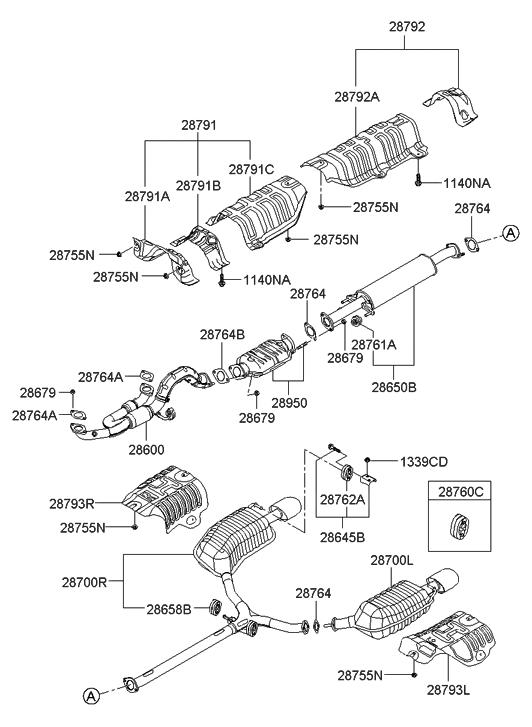 28610 3k100 genuine hyundai pipe exhaust front rh hyundaipartsdeal com 2004 hyundai sonata exhaust system diagram 2003 hyundai sonata exhaust system diagram