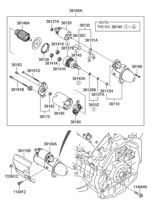 36100 25020 Genuine Hyundai Starter Assembly