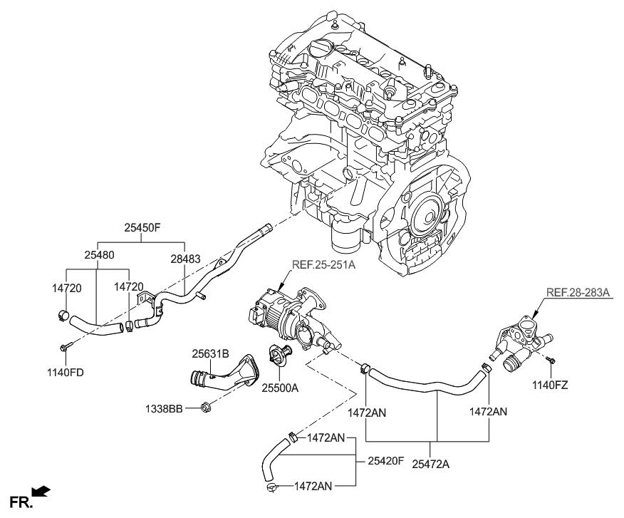 2016 Hyundai Sonata Hybrid Coolant Pipe & Hose