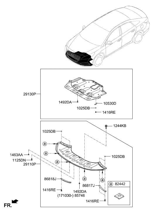 29130 e6000 genuine hyundai panel under cover engine. Black Bedroom Furniture Sets. Home Design Ideas