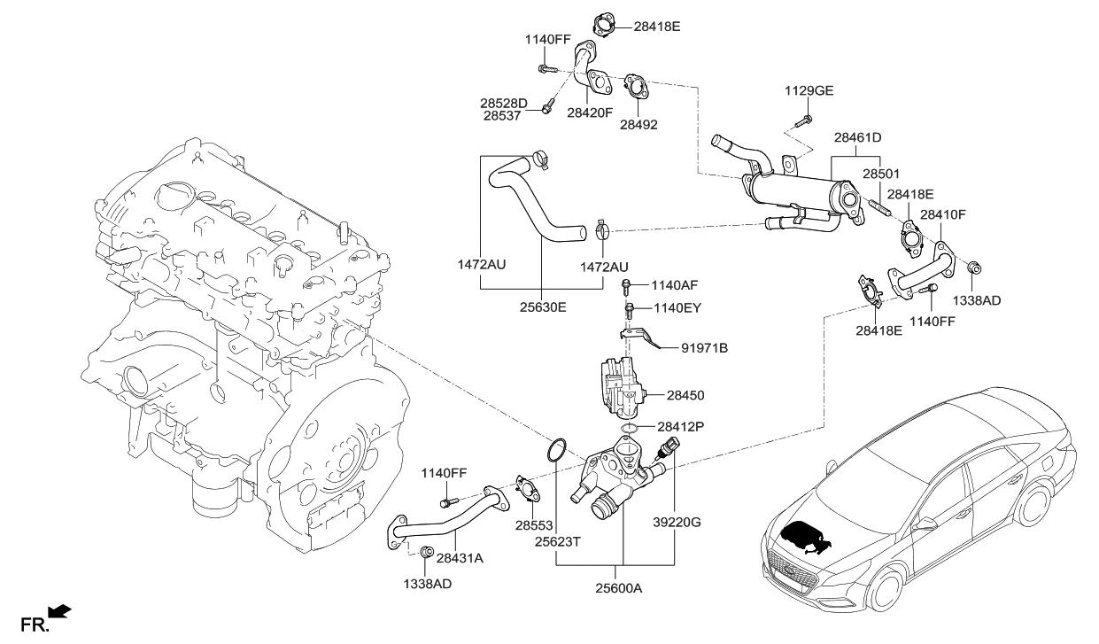 28400 2e610 Genuine Hyundai Valve Assembly Egr Sonata Tail Light Wiring Diagram For 2015 2016 Hybrid Intake Manifold