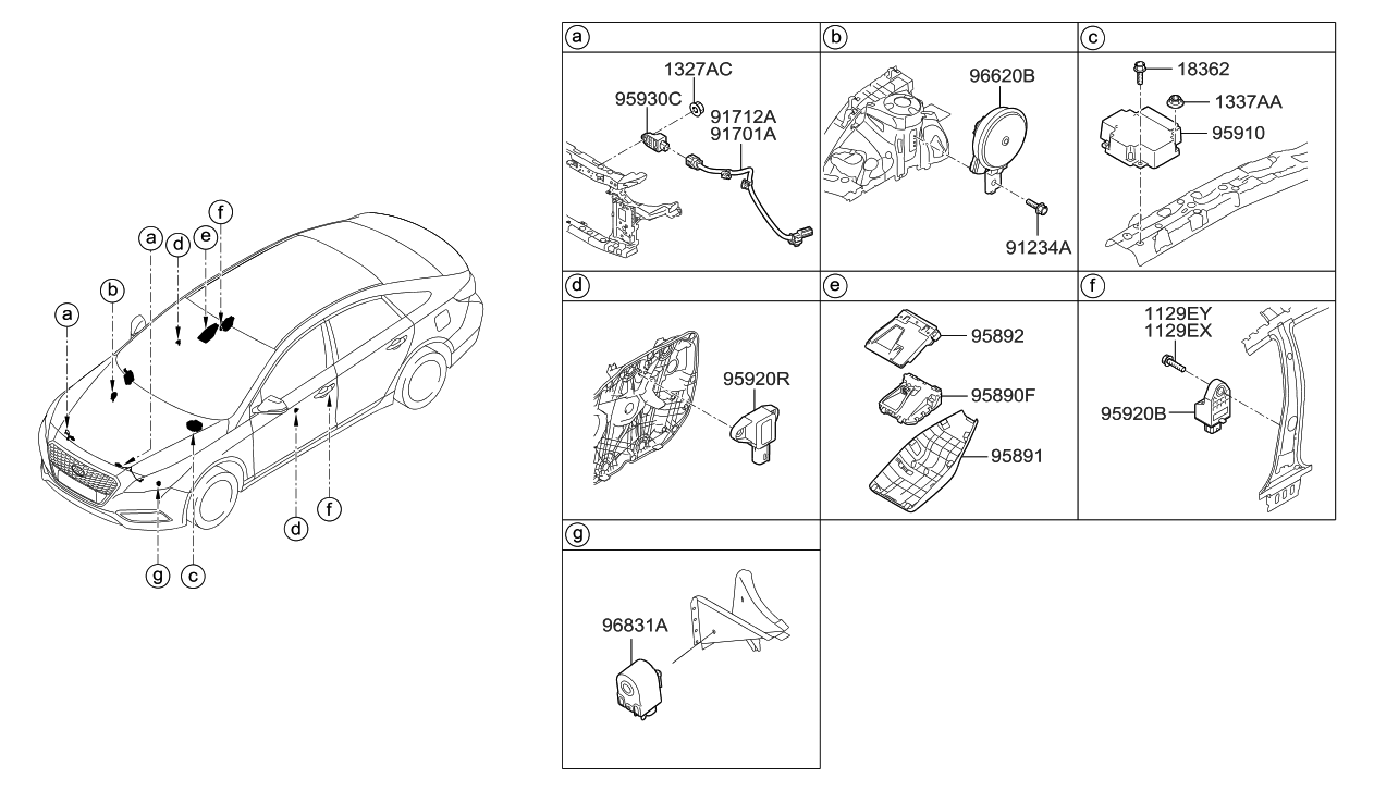 91711 E6100 Genuine Hyundai Wiring Harness Airbag Extensionlh 2017 Sonata Hybrid Relay Module