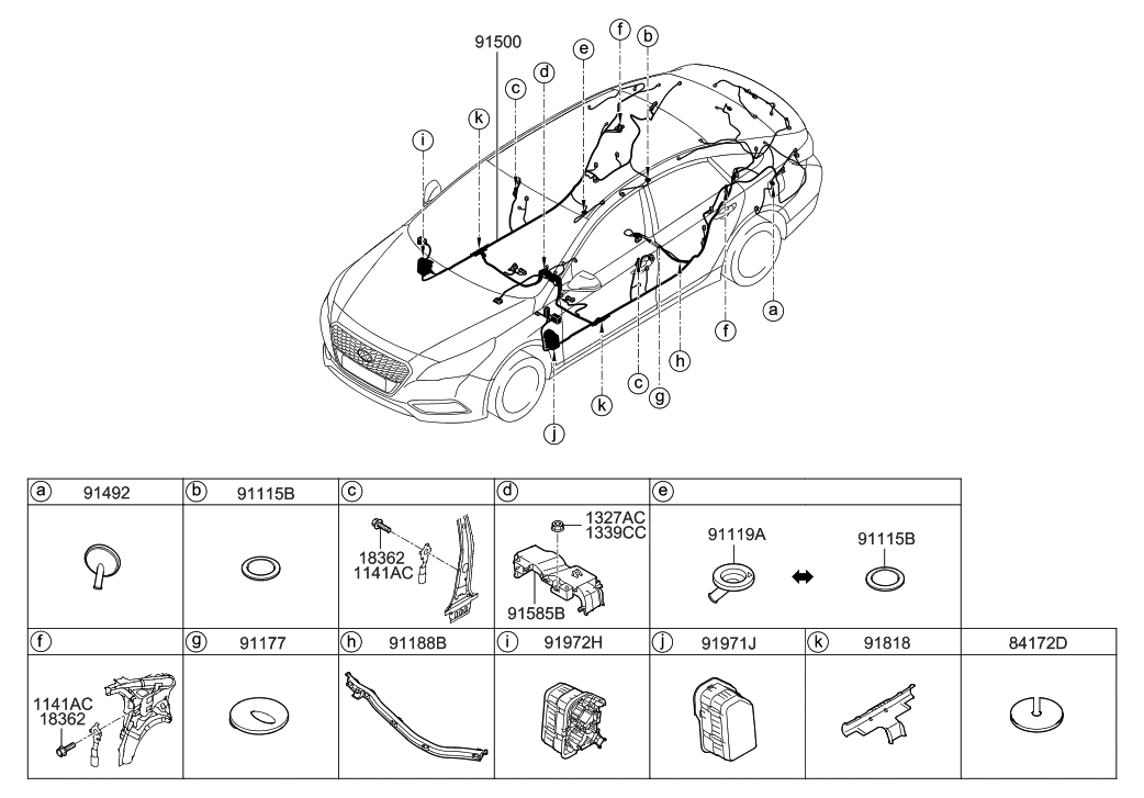 2016 Hyundai Sonata Hybrid Floor Wiring