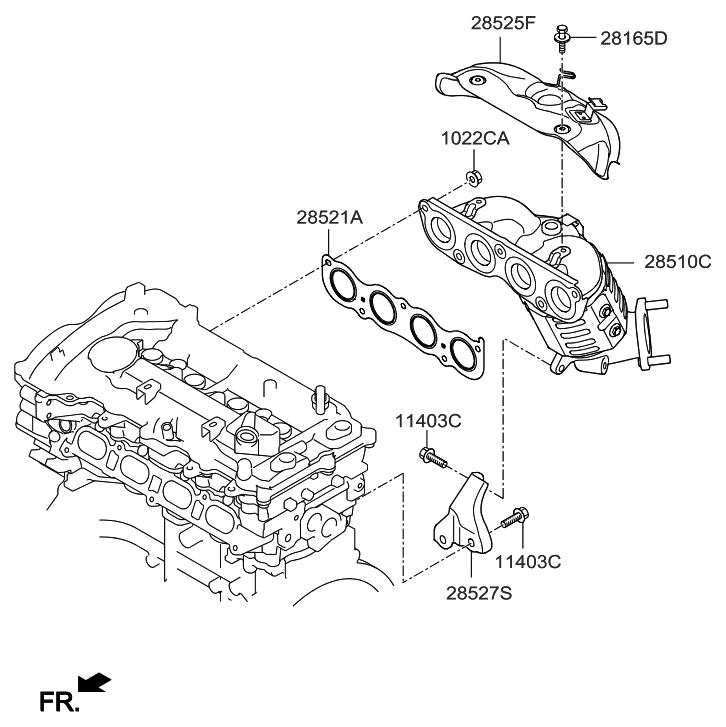 2016 Hyundai Sonata Hybrid Exhaust Manifold