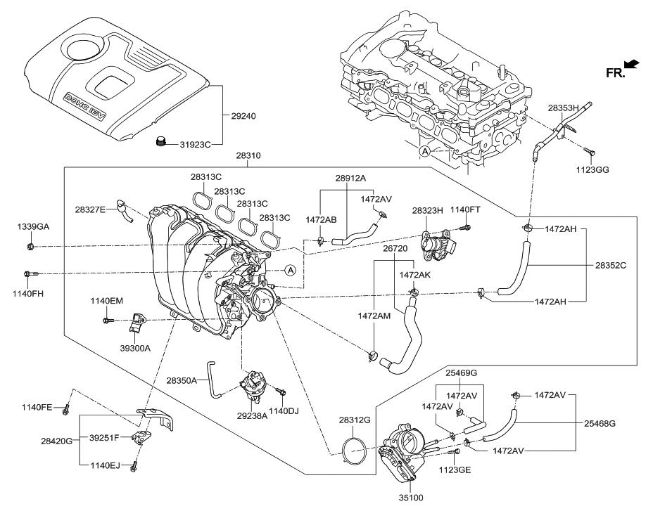 26720-03170 - Genuine Hyundai HOSE ASSEMBLY-PCV