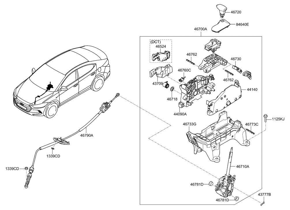 2017 Hyundai Elantra US Alabama made Shift Lever Control (AT)