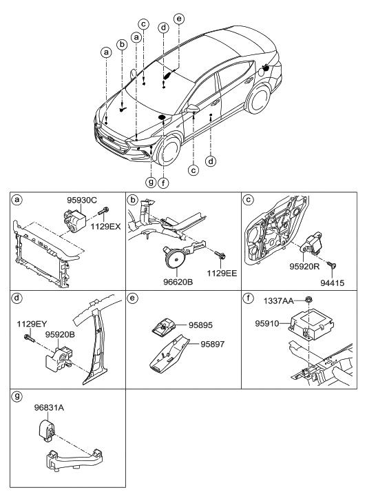 95910 f2000 genuine hyundai module assembly air bag control. Black Bedroom Furniture Sets. Home Design Ideas
