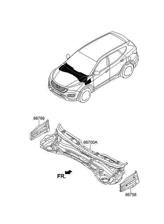 2014 Hyundai Santa Fe US Georgia made Cowl Panel