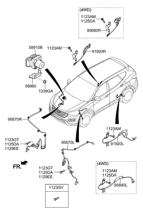 2014 Hyundai Santa Fe Sport Hydraulic Module