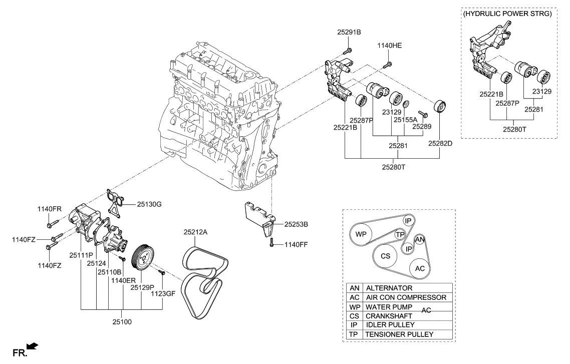 2013 Hyundai Santa Fe Us Georgia Made Coolant Pump Engine Diagram Thumbnail 1