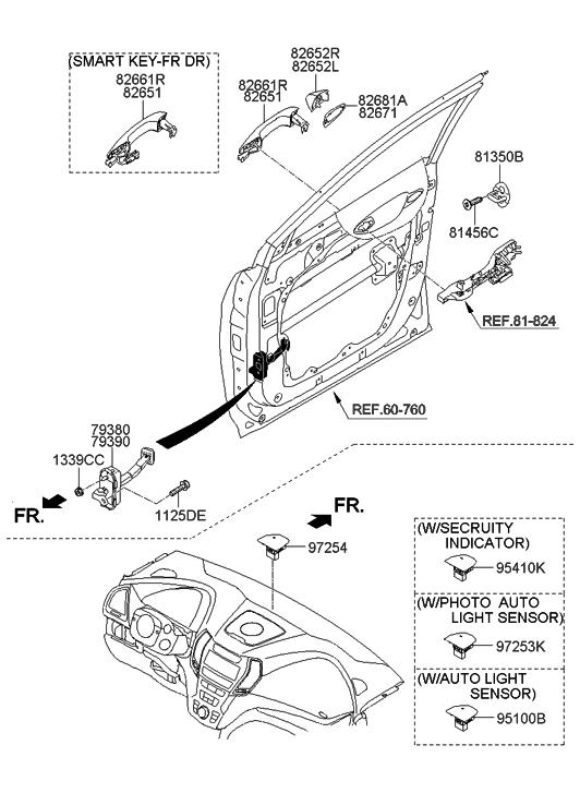 Exterior Genuine Hyundai 82651-2H000-YAC Door Handle Assembly