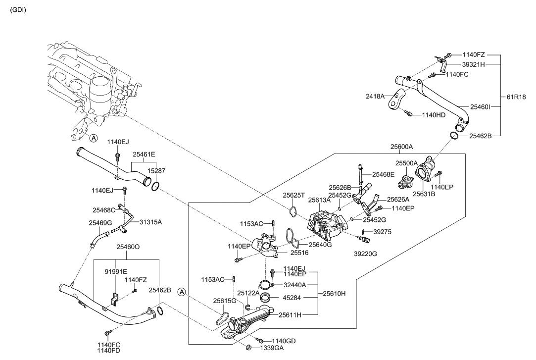 2013 Hyundai Genesis Coolant Pipe Hose Parts Deal Engine Thumbnail 1