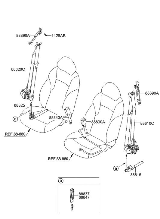 2009 hyundai sonata new body style front seat belt